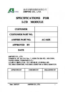 SPECIFICATIONS FOR LCD MODULE