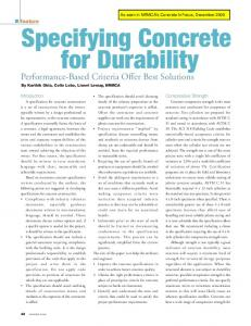 Specifying Concrete for Durability