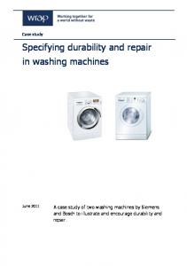 Specifying durability and repair in washing machines