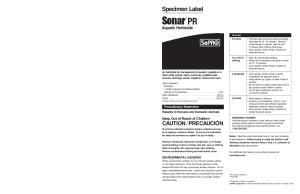 Specimen Label Sonar * PR