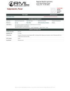 SPECIMEN REQUIREMENTS. Specimen Specimen Volume (min) Specimen Type Specimen Container Transport Environment