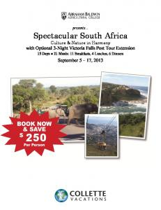 Spectacular South Africa Culture & Nature in Harmony with Optional 3-Night Victoria Falls Post Tour Extension