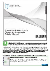 Spectrometric Identification Of Organic Compounds Solution Manual
