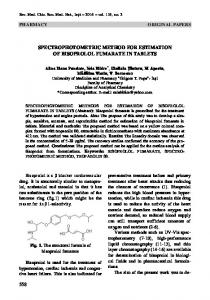 SPECTROPHOTOMETRIC METHOD FOR ESTIMATION OF BISOPROLOL FUMARATE IN TABLETS