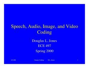 Speech, Audio, Image, and Video Coding