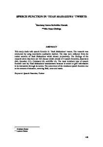 SPEECH FUNCTION IN YEAH MAHASISWA TWEETS
