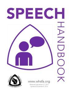 SPEECH HANDBOOK.  Released September 27, 2016 Updated December 8, 2016