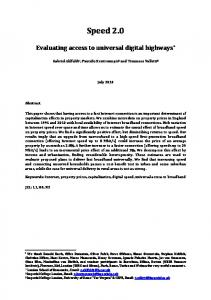 Speed 2.0. Evaluating access to universal digital highways * July 2014