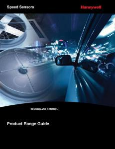 Speed Sensors SENSING AND CONTROL. Product Range Guide