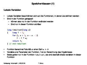 Speicherklassen (1) Lokale Variablen