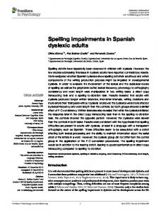 Spelling impairments in Spanish dyslexic adults