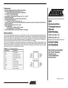 SPI Automotive Temperature Serial EEPROMs AT25128A AT25256A