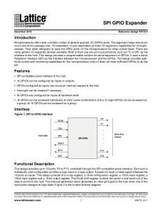 SPI GPIO Expander. Introduction. Features. Interface. Functional Description
