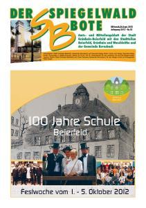Spiegelwaldbote. Nummer 18 Jahrgang 2012 Mittwoch, 26. September Mittwoch,26.Sept Jahrgang 2012 Nr.18