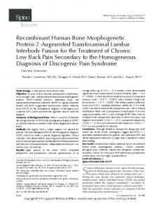 Spinal arthrodesis (fusion) is one option for the management