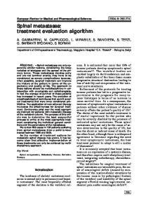 Spinal metastases: treatment evaluation algorithm