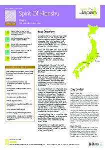 Spirit Of Honshu. Tour Overview. Day by day. 8 Nights. Tokyo unikko uizu ukyoto unara