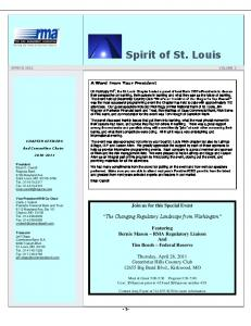 Spirit of St. Louis. Join us for this Special Event. The Changing Regulatory Landscape from Washington