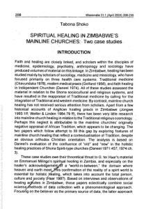 SPIRITUAL HEALING IN ZIMBABWE'S 'MAINLINE CHURCHES: Two case studies,