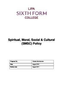 Spiritual, Moral, Social & Cultural (SMSC) Policy