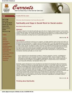 Spirituality and Hope in Social Work for Social Justice