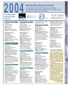 Spirometry Buyers Guide
