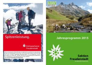 Spitzenleistung. Jahresprogramm Sektion Freudenstadt  s Kreissparkasse Freudenstadt