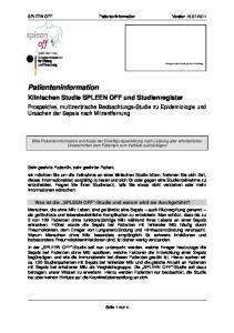 SPLEEN OFF Patienteninformation Version Klinischen Studie SPLEEN OFF und Studienregister