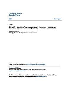 SPNS : Contemporary Spanish Literature