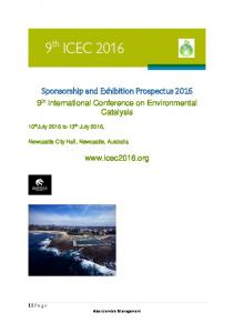 Sponsorship and Exhibition Prospectus 2016
