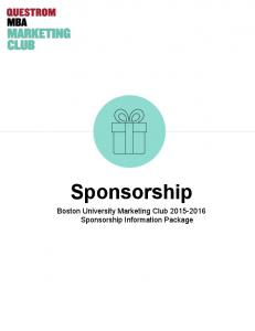 Sponsorship. Boston University Marketing Club Sponsorship Information Package