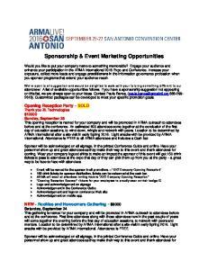 Sponsorship & Event Marketing Opportunities