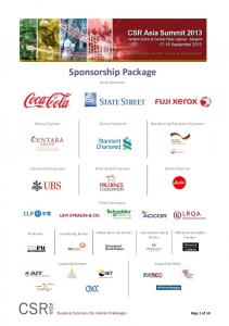 Sponsorship Package. Gold Sponsors: Venue Sponsor: Dinner Sponsor: Networking Reception Sponsor: