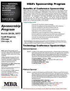 Sponsorship Program. MBA s Sponsorship Program. Benefits of Conference Sponsorship. March 26-29, Hyatt Regency Chicago Chicago, IL