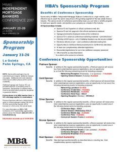 Sponsorship Program. MBA s Sponsorship Program. January Conference Sponsorship Opportunities. La Quinta Palm Springs, CA