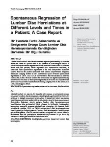 Spontaneous Regression of Lumbar Disc Herniations at Different Levels and Times in a Patient: A Case Report