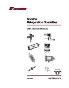 Sporlan Refrigeration Specialties