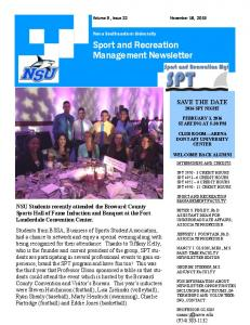 Sport and Recreation Management Newsletter