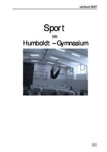 Sport im Humboldt-Gymnasium Jahrbuch Sport. Humboldt Gymnasium