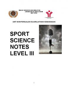 SPORT SCIENCE NOTES LEVEL III