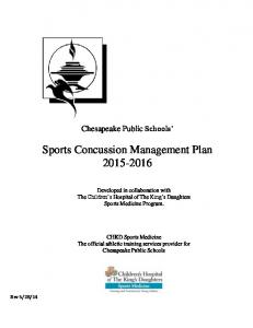 Sports Concussion Management Plan