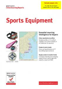 Sports Equipment. Essential sourcing intelligence for buyers