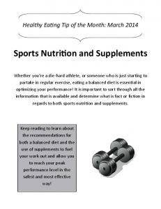 Sports Nutrition and Supplements