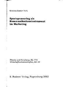 Sportsponsoring als Kommunikationsinstrument im Marketing