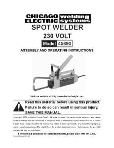 spot welder 230 volt Model Visit our website at: