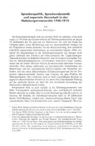 Sprachenpolitik, Sprachendynamik und imperiale Herrschaft in der Habsburgermonarchie