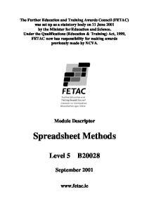 Spreadsheet Methods. September Module Descriptor