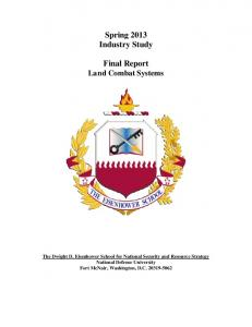Spring 2013 Industry Study Final Report Land Combat Systems