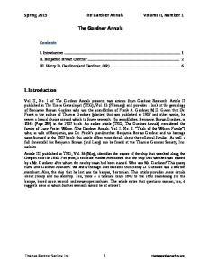Spring 2015 The Gardner Annals Volume II, Number 1. The Gardner Annals