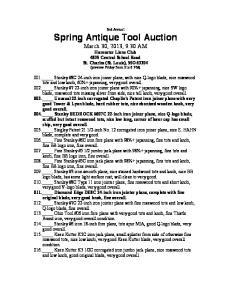 Spring Antique Tool Auction